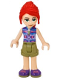 Minifig No: frnd377  Name: Friends Mia, Olive Green Shorts, Dark Azure and Dark Purple Patterned Sleeveless Jacket with Zipper