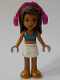 Minifig No: frnd383  Name: Friends Andrea, White Skirt, Dark Blue Halter Top with Gold Trim, Headphones