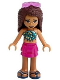 Minifig No: frnd386  Name: Friends Andrea, Magenta Layered Skirt, Dark Turquoise and Gold Top, Sunglasses
