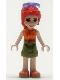 Minifig No: frnd388  Name: Friends Mia, Olive Shorts, Orange and Bright Light Orange Top, Orange Shoes, Sunglasses