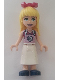 Minifig No: frnd389  Name: Friends Stephanie, Magenta Top, White Apron with Swirl, Dark Blue Shoes, Bow