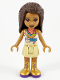 Minifig No: frnd392  Name: Friends Andrea, Tan Skirt, Coral, Lime and Medium Azure Top, Gold Boots
