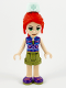 Minifig No: frnd393  Name: Friends Mia, Olive Green Shorts, Dark Azure and Dark Purple Patterned Sleeveless Jacket with Zipper, Nurse Hat