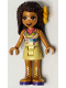 Minifig No: frnd394  Name: Friends Andrea, Tan Skirt, Coral, Lime and Medium Azure Top, Gold Boots, Flower