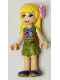 Minifig No: frnd395  Name: Friends Stephanie, Olive Green Shorts and Top, Dark Purple Shoes, Flower