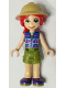 Minifig No: frnd397  Name: Friends Mia, Olive Green Shorts, Dark Azure and Dark Purple Patterned Sleeveless Jacket with Zipper, Pith Helmet