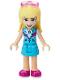 Minifig No: frnd405  Name: Friends Stephanie, Medium Azure Layered Skirt, Medium Azure and Dark Purple Jacket, Sunglasses