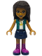 Minifig No: frnd415  Name: Friends Andrea, Dark Blue Skirt, Dark Turquoise Jacket over White Top with Crown