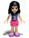 Minifig No: frnd423  Name: Friends Emma, Dark Pink Layered Skirt, Sand Blue Top with Birds