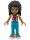 Minifig No: frnd434  Name: Friends Andrea, Dark Turquoise Pants, Magenta Top with Metallic Gold Vest