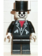 Minifig No: game001  Name: Leather Jacket with Zippers - Black Legs, Skeleton Head, Black Top Hat, White Hands