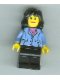 Minifig No: game006  Name: Medium Blue Jacket, Black Legs, Black Mid-Length Female Hair