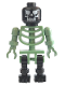 Minifig No: gen014  Name: Skeleton Sand Green with Black Legs and Black Head with Evil Skull