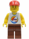Minifig No: gen024  Name: Surfboard on Ocean - Reddish Brown Legs, Red Cap