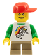Minifig No: gen059  Name: Classic Space Minifigure Floating Pattern, Short Dark Tan Legs, Red Short Bill Cap with Seams