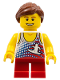 Minifig No: gen061  Name: Tank Top with Surfer Silhouette, Red Short Legs, Reddish Brown Ponytail and Swept Sideways Fringe