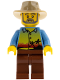 Minifig No: gen080  Name: Sunset and Palm Trees - Reddish Brown Legs, Tan Fedora