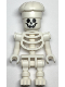 Minifig No: gen134  Name: Skeleton with Standard Skull, Bent Arms Vertical Grip, Cook's Hat