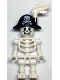 Minifig No: gen135  Name: Skeleton with Standard Skull, Bent Arms Vertical Grip, Bicorne with Large Skull and Crossbones and White Plume