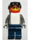 Minifig No: gg002  Name: Snowboarder, Dark Gray Shirt, Dark Blue Legs, White Vest