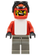 Minifig No: gg005  Name: Snowboarder, Red Shirt, Dark Gray Legs, White Vest