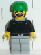 Minifig No: gg007  Name: Skateboarder, Black Shirt, Light Gray Legs, with Back Stud