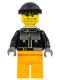 Minifig No: gg019a  Name: Skateboarder, Black Jacket, Medium Orange Legs - with Neck Bracket