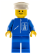Minifig No: hgh002  Name: Highway Pattern - Blue Legs, White Hat