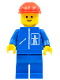 Minifig No: hgh005  Name: Highway Pattern - Blue Legs, Red Construction Helmet