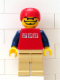 Minifig No: hky010  Name: Street Hockey Player, Red Torso, Tan Legs