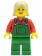 Minifig No: hol020  Name: Overalls Farmer Green, Tan Female Hair