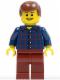 Minifig No: hol030  Name: Plaid Button Shirt, Dark Red Legs, Reddish Brown Male Hair, Open Grin