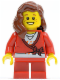 Minifig No: hol031  Name: Sweater Cropped with Bow, Heart Necklace, Red Short Legs, Reddish Brown Female Hair over Shoulder