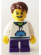 Minifig No: hol035  Name: White Hoodie with Blue Pockets, Dark Purple Short Legs, Reddish Brown Hair