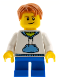 Minifig No: hol037a  Name: White Hoodie with Blue Pockets, Blue Short Legs, Dark Orange Hair, Crooked Smile with Brown Dimple