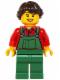 Minifig No: hol038  Name: Overalls Farmer Green, Dark Brown French Braided Female Hair