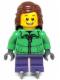Minifig No: hol039  Name: Winter Jacket Zipper, Dark Purple Short Legs, Reddish Brown Female Hair Mid-Length, Ice Skates