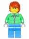 Minifig No: hol051  Name: Winter Jacket Zipper, Blue Legs, Dark Orange Hair, Crooked Smile