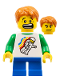 Minifig No: hol056  Name: Classic Space Minifigure Floating Pattern, Blue Short Legs, Dark Orange Short Tousled Hair