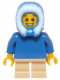 Minifig No: hol057  Name: Plain Blue Torso, Tan Short Legs, Blue Hood Fur-lined
