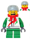 Minifig No: hol070a  Name: Octan - Jacket with Red and Green Stripe, Green Short Legs, Red Bandana, Helmet Sports with Vent Holes, Brown Eye Corner Crinkles