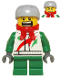 Minifig No: hol070b  Name: Octan - Jacket with Red and Green Stripe, Green Short Legs, Red Bandana, Helmet Sports with Vent Holes, Black Eye Corner Crinkles
