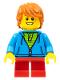 Minifig No: hol087  Name: Birthday Boy, Dark Orange Hair, Dark Azure Torso Hoodie, Red Short Legs