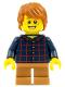 Minifig No: hol088  Name: Plaid Button Shirt, Medium Dark Flesh Short Legs, Dark Orange Hair Tousled
