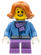 Minifig No: hol097  Name: Christmas Train Ride Passenger - Medium Blue Jacket with Light Purple Scarf, Short Legs