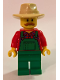 Minifig No: hol100  Name: Overalls Farmer Green, Tan Fedora, Moustache