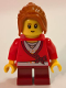 Minifig No: hol101  Name: Sweater Cropped with Bow, Heart Necklace, Dark Red Short Legs, Dark Orange Ponytail Long with Side Bangs