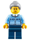 Minifig No: hol106  Name: Grandmother - Fair Isle Sweater, Light Bluish Gray Hair with Top Knot Bun, Dark Blue Legs, Glasses