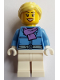 Minifig No: hol126  Name: Female, White Legs, Parka with Medium Lavender Scarf, Bright Light Yellow Ponytail, Open Mouth