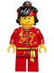 Minifig No: hol135  Name: Dragon Dance Performer, Top Knot and Headband, Scared / Lopside Smile